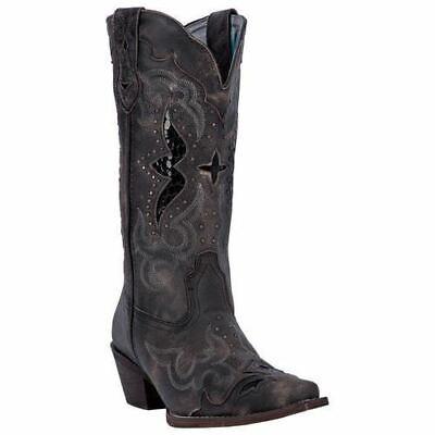 Laredo Women's Lucretia Western Cowboy Leather Boots Black T
