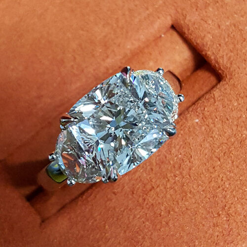 New 5.00 Ct Cushion Cut & Half Moon Diamond Engagement Ring F,VS2 GIA Platinum