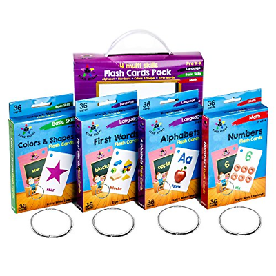 Star Education Flash Cards Set of 4 - Numbers, Alphabets,