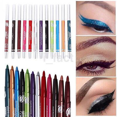 12Pc Waterproof Liquid Eye Liner Pen Pencil Makeup Cosmetic Kit Good US