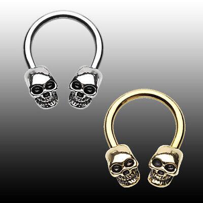 Golden Skull Head Horseshoe Circular Barbell Silver Gothic Body Jewelry Sexy Circular Horseshoe Barbell Body Jewelry