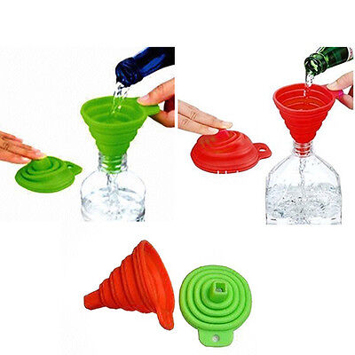3 Pack Silicone Funnel Collapsible kitchen Fold heat resistant oil water liquid