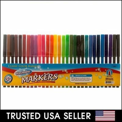 30 pcs - Classic Color Markers Brilliant Assorted Colors Fine Tip Line Washable