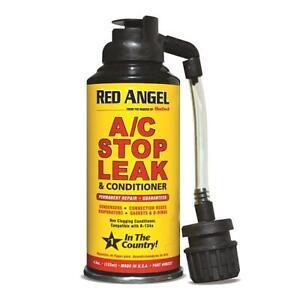 RED ANGEL AUTO CAR AC AIR CONDITIONER PLUG LEAK STOP ONE SHOT AEROSOL + HOSE