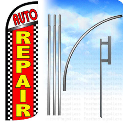 Auto Repair - Windless Swooper Feather Full Sleeve Banner Sign Flag Kit - Chrq