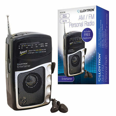 Lloytron Small Pocket Portable AM FM Sport Transistor Radio with Earphones Black