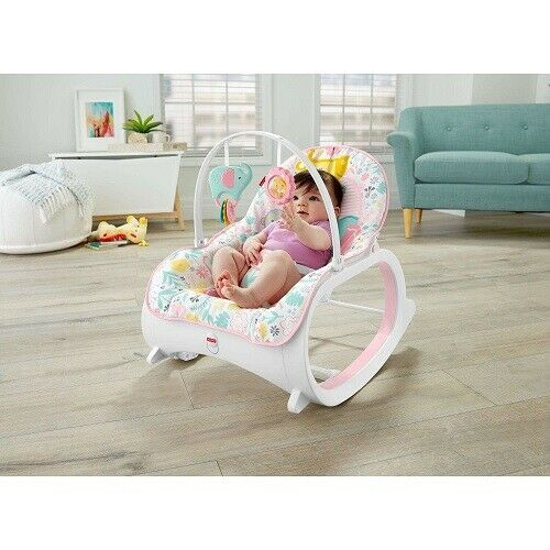 Baby Rocker Seat Toddler Bassinet Recline Chair Pink Infant Bouncer Rocking Girl