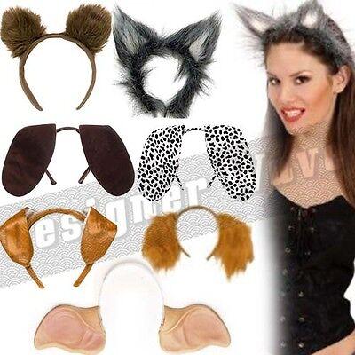Tier Stirnbänder flauschig Ohren Schlapper Kinder Erwachsene Kostüm Hund Katze (Tier-stirnbänder)