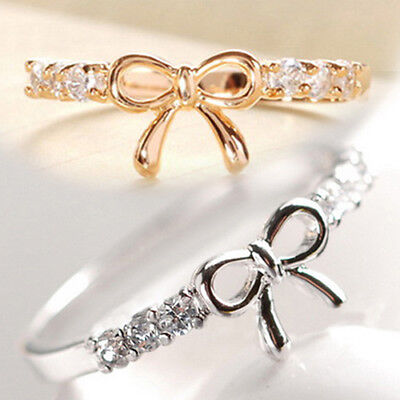 Fashion Women Girl Simple Crystal Bowknot Band Bridal Party Finger Ring Little - Little Girls Rings