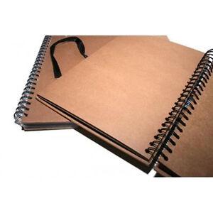 A4 Seawhite Brown KRAFT CARD Spiral Hardback Sketchbook,Display Book,Scrapbook