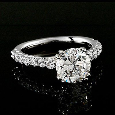 1 Ct Round Cut Diamond Engagement Ring D VS2 14K White Gold Enhanced