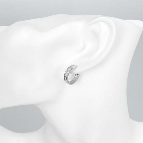 925 Sterling Silver Plated CZ Cubic Huggie Hoop Small Earrings Men Women E21 3
