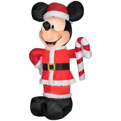 Disney 10.5' Lighted Led Mickey Mouse Santa Christmas Airblown Inflatable