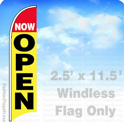 Now Open - Windless Swooper Flag Feather 2.5x11.5 Banner Sign - Yb
