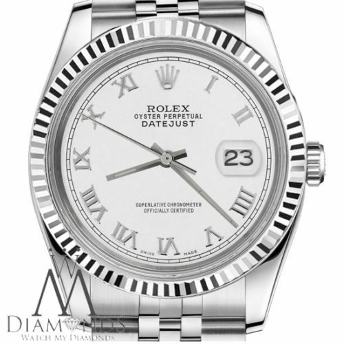 White Gold Rolex 26mm Datejust White Roman Numeral Dial Stainless Steel Watch