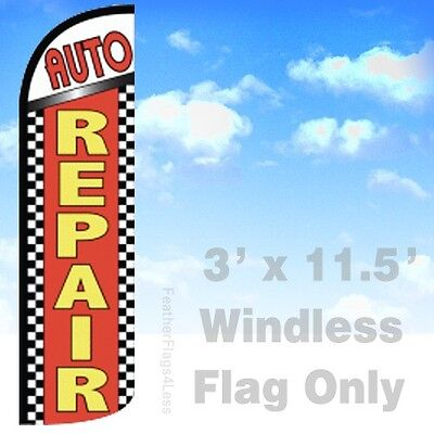 Auto Repair Windless Swooper Feather Flag 3x11.5 Banner Sign - Checkered Rq
