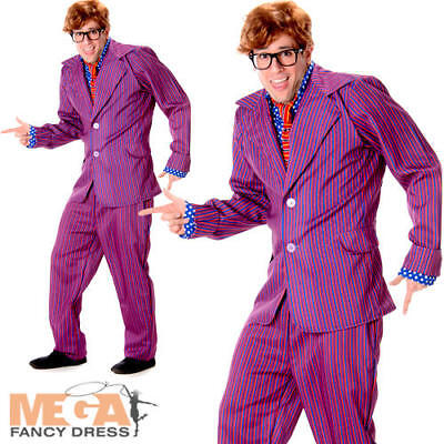 Secret Agent Mens 60s Austin Powers Fancy Dress 1960s Groovy Adult Movie - Austin Powers Costume