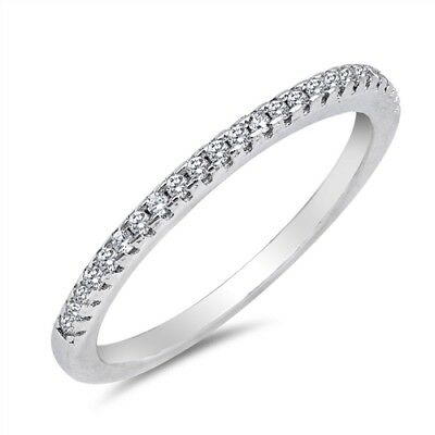 Thin Micro Pave Clear CZ Wedding Ring .925 Sterling Silver Band Sizes 4-10 NEW