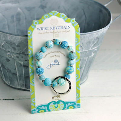 JILZARA Keychain Mini Bead Key Ring Bracelet Summer Cottage Latte Jilzarah Blue (Beaded Keychains)