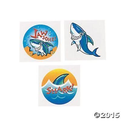 72 Shark Ocean Theme Luau Temporary Tattoos Kids Birthday Pa