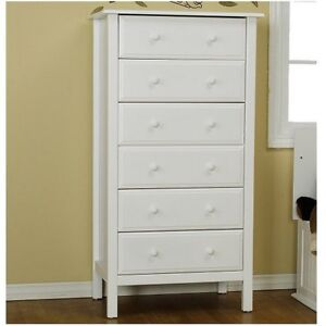 Davinci Jayden 6 Drawer Tall Dresser White