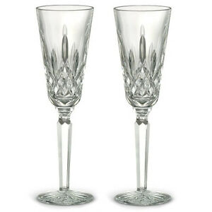 Pair of Waterford Crystal Lismore Tall Champagne Flute Glasses *New in Box*