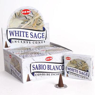 LOT OF 30 HEM WHITE SAGE Cone Incense 3 Box OF 10 Cones = 30 Cone ALWAYS FRESH ()