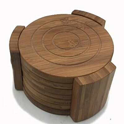 Bamboo Coasters Drink Hot Beverage Coaster Set Round Cup Mat with Holder 6 -