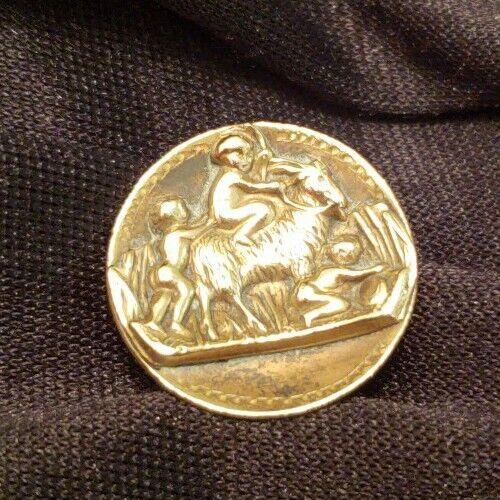 """Antique Brass Picture Button ,3 Cherubs w Goat  7/8"""""""