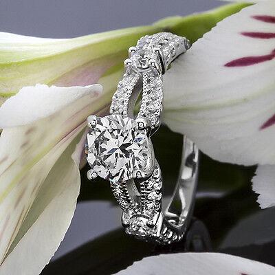 1 CT ROUND CUT DIAMOND ENGAGEMENT RING ENHANCED 14k WHITE GOLD D VS