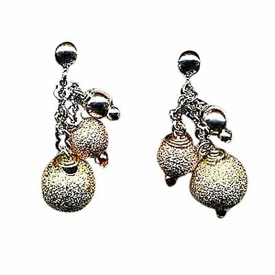 Sterling Silver Tri Color Gold Plated 3 Disco Balls Dangling Earrings ()