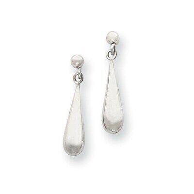14k White Gold Tear Drop Dangle Post Earrings