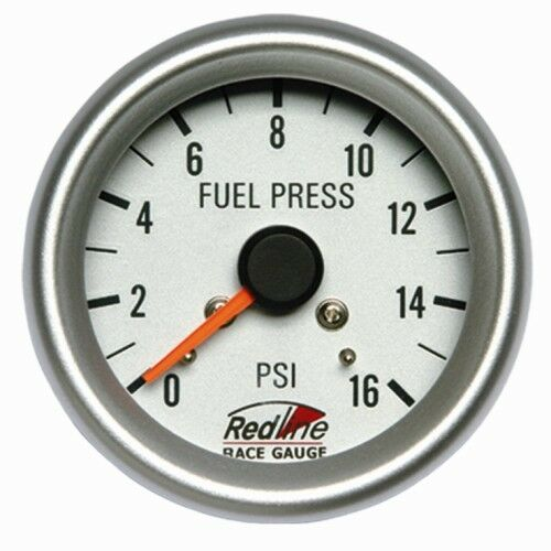 2 5/8 Fuel Pressure Gauge Mechanical White Face Silver Bezel 258-19 Redline