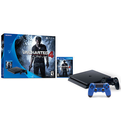 Sony PS4 Slim 500 GB Uncharted 4 bundle + Dualshock 4 controller (Wave Blue)