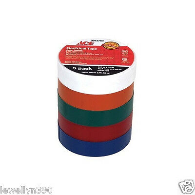 Color Coded Electrical Tape 5 Rolls 12 X 20