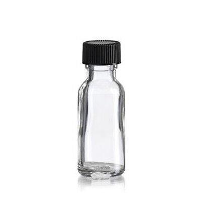 -  15ml Boston Round Clear Bottle with Black Poly Cone Cap (144 Pcs)
