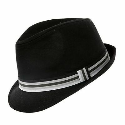 Black Cotton Trilby Hat 3