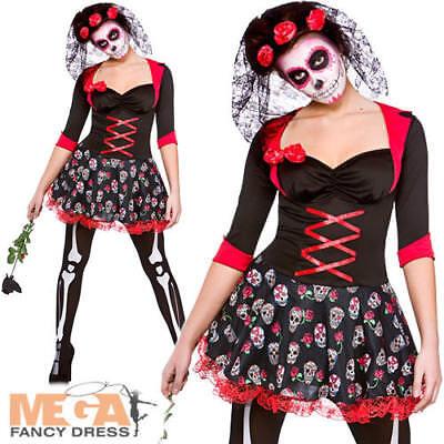 Day Of The Dead Darling Ladies Fancy Dress Skeleton Halloween Womens Costume (Darling Womens Kostüme)