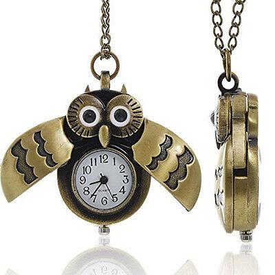 Bronzene Eule Taschenuhr mit Kette Halskette Flügel Öffnen und Schließen (Taschenuhr Halskette Flügel)