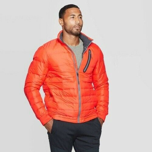 C9 Champion Mens' Lightweight Puffer Jacket – Orange L (NWT) Clothing, Shoes & Accessories