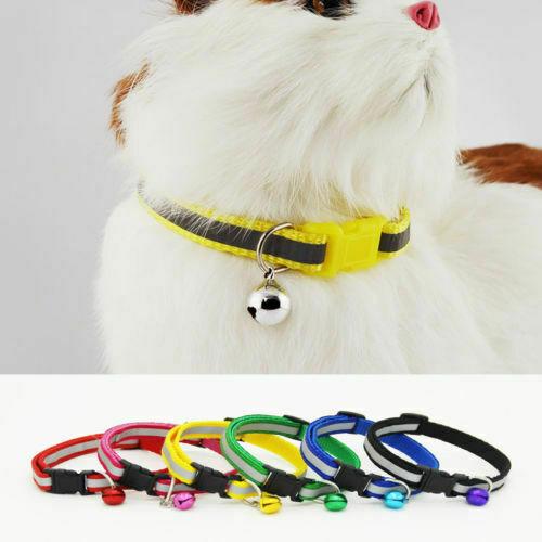 Cat Small Dog Collar ~ CUTE ~ Buckle Bell Bow Tie Reflective Stripe Kitten Puppy Cat Supplies