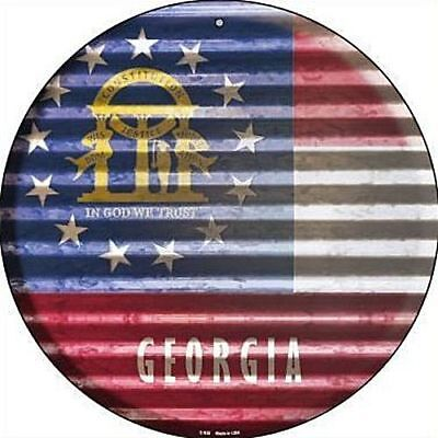 """Used, GA Georgia State Flag 12"""" Round Metal Sign US Patriotic Decor Corrugated Look for sale  Shipping to Canada"""
