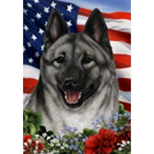 Patriotic (1) House Flag - Norwegian Elkhound 16403