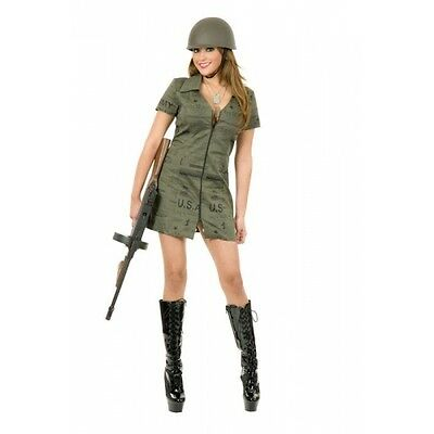 Double Zip G.I. Dress Army Green Military Sexy Dress Up Halloween Adult -