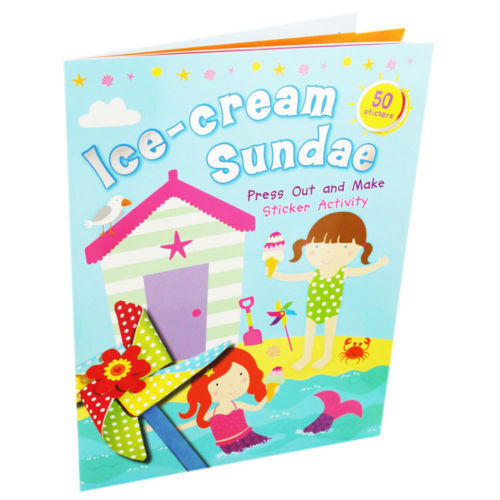 ICE-CREAM SUNDAE PRESS OUT & MAKE STICKER ACTIVITY (INCLUDES 50 STICKERS) - NEW