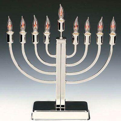 JUDAICA COLLECTIBLE JEWISH CHANUKAH HANUKA SILVER PLATED FINISH ELECTRIC MENORAH