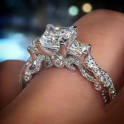Certified 2 ct 3 Stone White Princess Cut Diamond 14k White Gold Engagement Ring