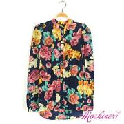 Long Sleeve Floral Print Chiffon Blouse
