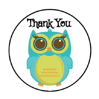 48 Thank You Owl  4     Envelope Seals Labels Stickers 1 2  Round