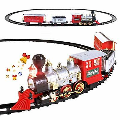 Electric Christmas Train Set for Kids with Headlight, Realistic Sound, Battery